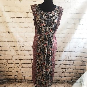 LUCKY BRAND Mixed Floral Knit Dress Large